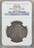 Bust Half Dollars: , 1824 50C -- Improperly Cleaned -- NGC Details. VF. NGC Census:(16/862). PCGS Population (21/944). Mintage: 3,504,954. Numi...