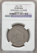 Bust Half Dollars: , 1810 50C -- Improperly Cleaned -- NGC Details. VF. NGC Census:(9/602). PCGS Population (29/646). Mintage: 1,276,276. Numis...