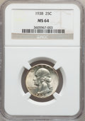 Washington Quarters: , 1938 25C MS64 NGC. NGC Census: (202/576). PCGS Population(415/762). Mintage: 9,480,045. Numismedia Wsl. Price for problem...