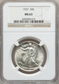 Walking Liberty Half Dollars: , 1937 50C MS63 NGC. NGC Census: (243/2366). PCGS Population(484/3623). Mintage: 9,527,728. Numismedia Wsl. Price for proble...