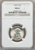 Washington Quarters: , 1935-S 25C MS63 NGC. NGC Census: (154/764). PCGS Population(268/1380). Mintage: 5,660,000. Numismedia Wsl. Price for probl...