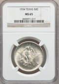 Commemorative Silver: , 1934 50C Texas MS65 NGC. NGC Census: (883/456). PCGS Population(1210/448). Mintage: 61,463. Numismedia Wsl. Price for prob...