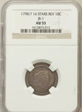 Early Dimes: , 1798/97 10C 16 Stars on Reverse AU53 NGC. JR-1. NGC Census: (2/38).PCGS Population (2/20). Mintage: 27,550. Numismedia Wsl...
