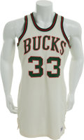 Basketball Collectibles:Uniforms, 1969-71 Lew Alcindor Game Worn Milwaukee Bucks Jersey, MEARS A10....