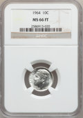 Roosevelt Dimes, 1964 10C MS66 Full Torch NGC. NGC Census: (136/29). PCGS Population(151/17). Mintage: 929,299,968. Numismedia Wsl. Price f...