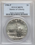 Modern Issues: , 1986-P $1 Statue of Liberty Silver Dollar MS70 PCGS. PCGSPopulation (151). NGC Census: (198). Mintage: 723,635.Numismedia...