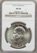 Eisenhower Dollars: , 1972-S $1 Silver MS68 NGC. NGC Census: (376/4). PCGS Population (1455/15). Mintage: 2,193,056. Numismedia Wsl. Price for pr...