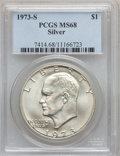 Eisenhower Dollars: , 1973-S $1 Silver MS68 PCGS. PCGS Population (820/3). NGC Census: (134/1). Mintage: 869,400. Numismedia Wsl. Price for probl...