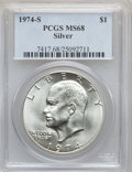 Eisenhower Dollars: , 1974-S $1 Silver MS68 PCGS. PCGS Population (920/3). NGC Census: (140/1). Mintage: 1,900,156. Numismedia Wsl. Price for pro...