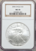 Modern Bullion Coins, 2006 $1 One Ounce Silver Eagle MS70 NGC. NGC Census: (3823). PCGSPopulation (375). Numismedia Wsl. Price for problem free...