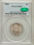 Liberty Nickels: , 1886 5C MS64 PCGS. CAC. PCGS Population (115/40). NGC Census:(61/29). Mintage: 3,330,290. Numismedia Wsl. Price for proble...