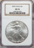 Modern Bullion Coins, 2002 $1 One Ounce Silver Eagle MS70 NGC. NGC Census: (2030). PCGSPopulation (40). Numismedia Wsl. Price for problem free ...