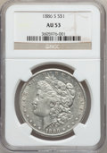 Morgan Dollars: , 1886-S $1 AU53 NGC. NGC Census: (91/3207). PCGS Population(130/5158). Mintage: 750,000. Numismedia Wsl. Price for problem ...
