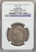Bust Half Dollars: , 1835 50C -- Improperly Cleaned -- NGC Details. AU. O-105. NGCCensus: (50/558). PCGS Population (97/454). Mintage: 5,352,0...