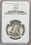 Walking Liberty Half Dollars: , 1934 50C MS64 NGC. NGC Census: (656/982). PCGS Population(951/1392). Mintage: 6,964,000. Numismedia Wsl. Price forproblem...