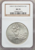 Modern Issues: , 1999-P $1 Yellowstone Silver Dollar MS70 NGC. NGC Census: (429).PCGS Population (230). Numismedia Wsl. Price for problem ...