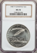 Modern Issues: , 1987-P $1 Constitution Silver Dollar MS70 NGC. NGC Census: (452).PCGS Population (288). Mintage: 451,629. Numismedia Wsl. ...