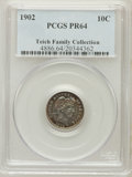Proof Barber Dimes, 1902 10C PR64 PCGS. Ex: Teich Family Collection. PCGS Population(76/44). NGC Census: (72/69). Mintage: 777. Numismedia Wsl...