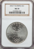 Modern Issues: , 2002-P $1 Olympics Silver Dollar MS70 NGC. NGC Census: (687). PCGSPopulation (335). Numismedia Wsl. Price for problem fre...