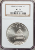 Modern Issues: , 1994-D $1 U.S. Capitol Silver Dollar MS70 NGC. NGC Census: (521).PCGS Population (331). Mintage: 68,352. Numismedia Wsl. P...