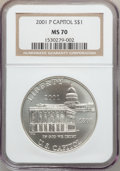 Modern Issues: , 2001-P $1 Capitol Visitor's Center Silver Dollar MS70 NGC. NGCCensus: (485). PCGS Population (100). Numismedia Wsl. Price...