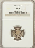 Mercury Dimes: , 1916-D 10C AG3 NGC. NGC Census: (0/1291). PCGS Population(1855/3399). Mintage: 264,000. Numismedia Wsl. Price for problem...