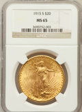 Saint-Gaudens Double Eagles: , 1915-S $20 MS65 NGC. NGC Census: (1623/154). PCGS Population(1931/189). Mintage: 567,500. Numismedia Wsl. Price for proble...