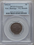 Liberty Nickels, 1912-S 5C -- Environmental Damage -- PCGS Genuine. VG Details. NGCCensus: (98/879). PCGS Population (167/1560). Mintage: 2...