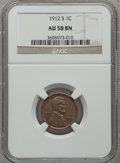 Lincoln Cents: , 1912-S 1C AU58 NGC. NGC Census: (80/300). PCGS Population (75/163).Mintage: 4,431,000. Numismedia Wsl. Price for problem f...