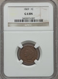 Indian Cents: , 1869 1C Good 6 NGC. NGC Census: (29/610). PCGS Population (51/762).Mintage: 6,420,000. Numismedia Wsl. Price for problem f...