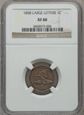 Flying Eagle Cents: , 1858 1C Large Letters XF40 NGC. NGC Census: (0/350). PCGSPopulation (109/1610). Mintage: 24,600,000. Numismedia Wsl.Price...