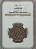 Large Cents: , 1852 1C AU58 NGC. NGC Census: (89/658). PCGS Population (75/416).Mintage: 5,063,094. Numismedia Wsl. Price for problem fre...