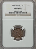 Indian Cents: , 1864 1C Bronze No L MS61 Brown NGC. NGC Census: (8/339). PCGSPopulation (3/247). Mintage: 39,233,712. Numismedia Wsl. Pric...