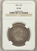 Early Half Dollars: , 1806 50C Pointed 6, Stem VF20 NGC. NGC Census: (76/1569). PCGSPopulation (89/715). Mintage: 839,576. Numismedia Wsl. Price...