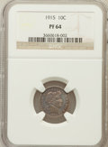 Proof Barber Dimes: , 1915 10C PR64 NGC. NGC Census: (48/51). PCGS Population (45/32).Mintage: 450. Numismedia Wsl. Price for problem free NGC/P...