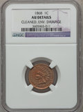 Indian Cents, 1868 1C -- Environmental Damage, Cleaned -- NGC Details. AU. NGCCensus: (21/297). PCGS Population (40/227). Mintage: 10,26...