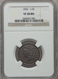Half Cents: , 1832 1/2 C VF30 NGC. NGC Census: (15/534). PCGS Population (9/385).Mintage: 154,000. Numismedia Wsl. Price for problem fre...