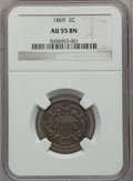 Two Cent Pieces: , 1869 2C AU55 NGC. NGC Census: (32/342). PCGS Population (26/129).Mintage: 1,546,500. Numismedia Wsl. Price for problem fre...