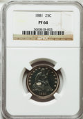 Proof Seated Quarters: , 1881 25C PR64 NGC. NGC Census: (74/86). PCGS Population (69/57).Mintage: 975. Numismedia Wsl. Price for problem free NGC/P...