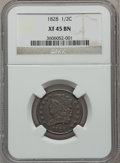 Half Cents: , 1828 1/2 C 13 Stars XF45 NGC. NGC Census: (95/1242). PCGSPopulation (69/573). Mintage: 606,000. Numismedia Wsl. Price for...
