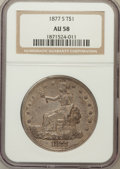 Trade Dollars: , 1877-S T$1 AU58 NGC. NGC Census: (190/712). PCGS Population(243/778). Mintage: 9,519,000. Numismedia Wsl. Price for proble...