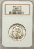 Walking Liberty Half Dollars: , 1941-D 50C MS67 NGC. NGC Census: (184/2). PCGS Population (159/1).Mintage: 11,248,400. Numismedia Wsl. Price for problem f...