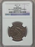 Large Cents, 1817 1C 13 Stars -- Cleaned, Rev Scratched -- NGC Details. VF N-8.Mintage: 3,94...