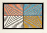 SOL LEWITT (American, 1928-2007) Arcs from Four Corners, 1986 Color woodcut on Echizen Torinoko pape
