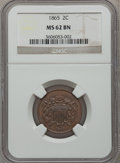 Two Cent Pieces: , 1865 2C MS62 Brown NGC. NGC Census: (254/1387). PCGS Population(76/465). Mintage: 13,640,000. Numismedia Wsl. Price for pr...