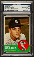 Baseball Cards:Autographs, 1963 Topps Signed Roger Maris #120, PSA Authentic. ...
