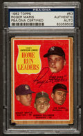 Baseball Cards:Autographs, 1962 Topps AL Home Run Leaders Roger Maris #53 Signed Card PSA Authentic. ...