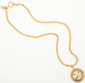 Luxury Accessories:Accessories, Chanel Gold CC Logo Medallion with Chain Necklace. ...