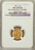 Liberty Quarter Eagles: , 1907 $2 1/2 -- Reverse Improperly Cleaned -- NGC Details. Unc. NGCCensus: (66/8096). PCGS Population (139/8476). Mintage: ...