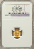 Gold Dollars: , 1853 G$1 -- Reverse Scratched -- NGC Details. Unc. NGC Census:(240/7763). PCGS Population (160/3534). Mintage: 4,076,051. ...